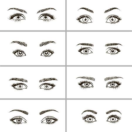 Ensemble de yeux formes. Différents types de yeux de femme.