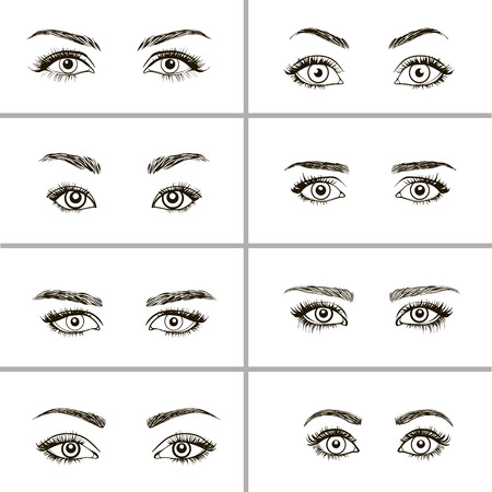 Set of eyes shapes.  Various types of woman eyes.
