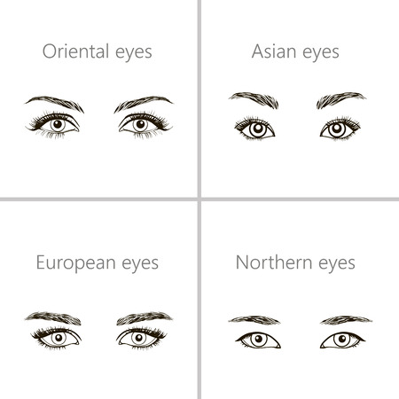 mongoloid: Set of eyes shapes.  Various types of woman eyes.