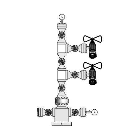 vector image of a fountain valve. Pipe, the valve for the oil and gas equipment