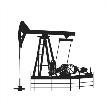 storage facility: Vector illustration. Silhouette image of pumps for oil production.Oil horse