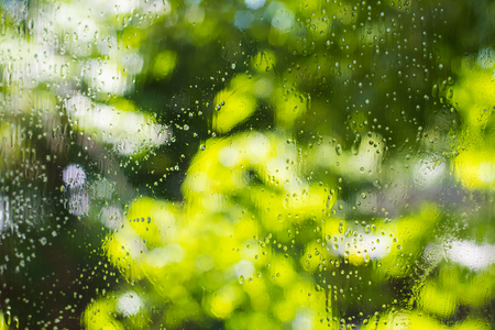 drops of cleaning fluid on window glass