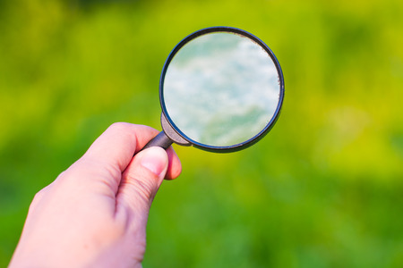 hand with a magnifying glass on the background of vegetation