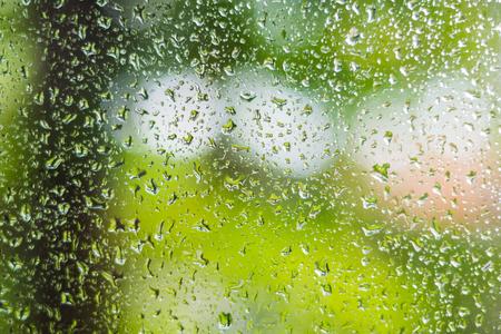 drops of rain on the window glass Stock Photo