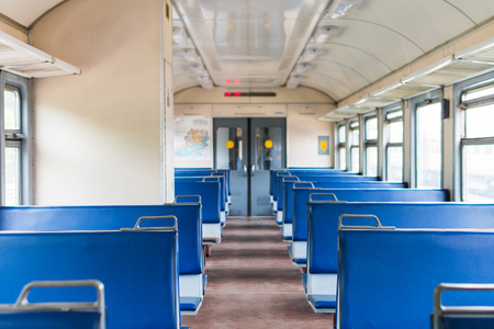 blue train car without passengers Editorial