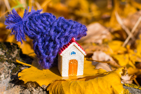 miniature house with a hat. Concept Archivio Fotografico