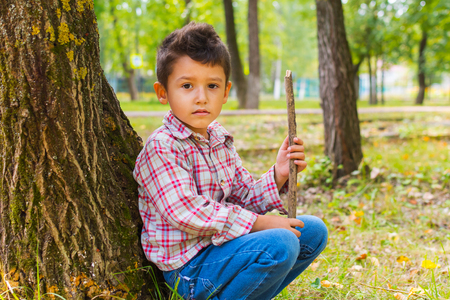 sad boy on a walk in the forest in autumn Stock Photo