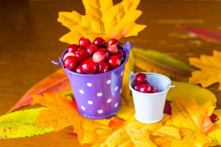 cranberry berries in decorative buckets