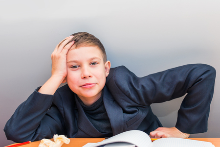 inattentive student in the classroom. attention deficit disorder Stock Photo