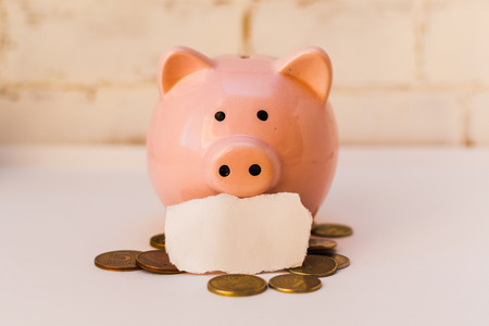 pink piggy Bank with Russian coins on light background