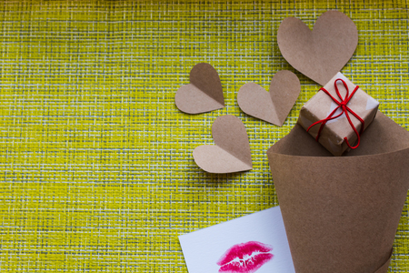 craft cone bag with hearts and gift