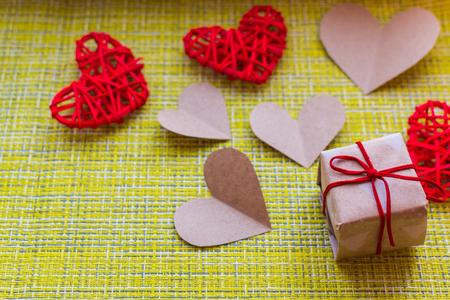 Valentines day concept. gift and hearts. Stock Photo