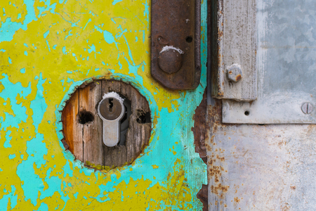 keyhole in an old door close-up Stock Photo