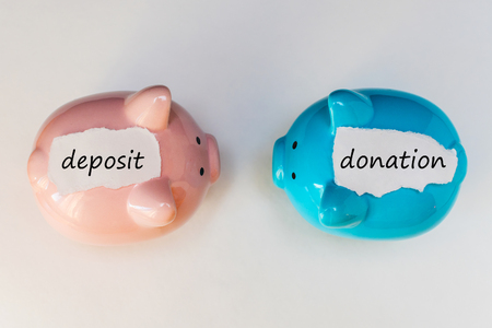 two piggy banks with inscriptions deposit donation on a white background, top view