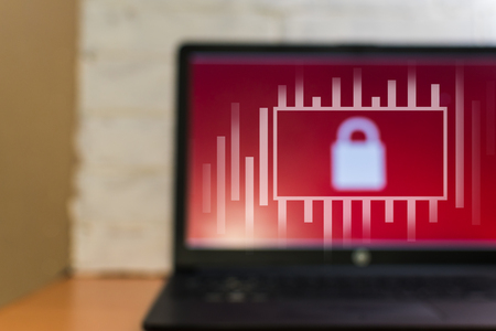 laptop. blurred background. concept access ban, personal security, Stockfoto