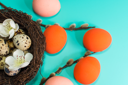 painted eggs and quail eggs in a nest with willow branches on a turquoise background. happy Easter card. Banco de Imagens