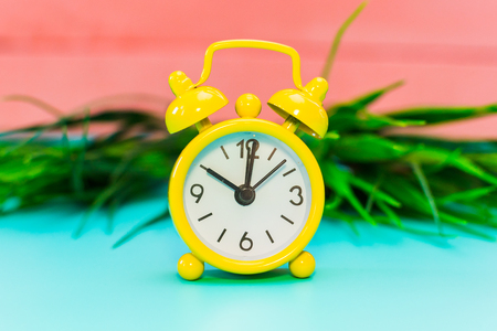 alarm clock on grass background.