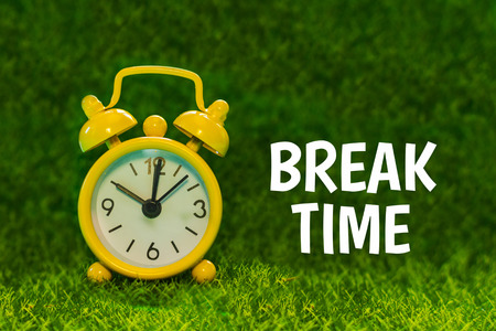 yellow alarm clock on a background of green grass with the words Break time