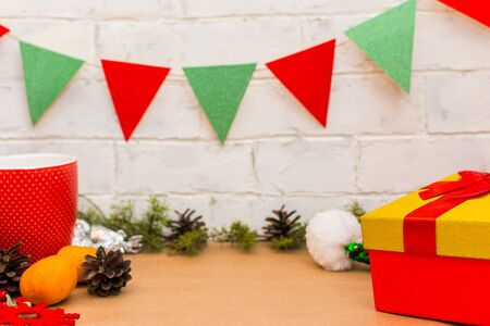 Christmas home decor. flags, tangerines, gifts
