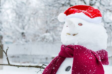 snowman in hat and scarf closeup in outdoors