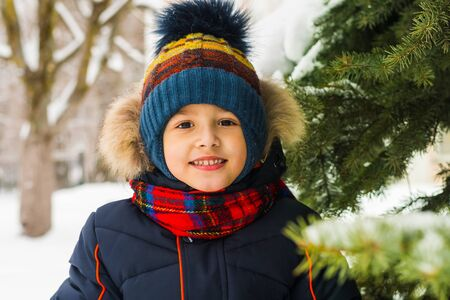 portrait of a little boy near spruce in winter