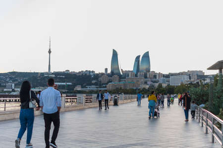 September 2019. Azerbaijan. Baku. The coastal Boulevard.