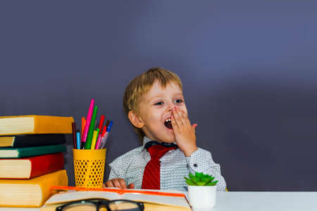 cheerful preschool boy at the table with books
