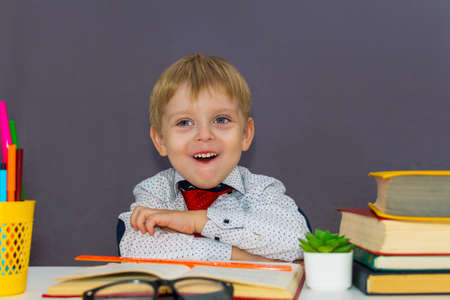 cheerful boy at the table with books Reklamní fotografie