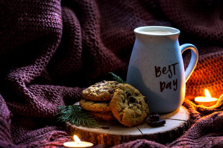 Best day coffee cup with homemade cookies. Lifestyle mood. Comfort feeling. Every day is the best day concept. States of mind.