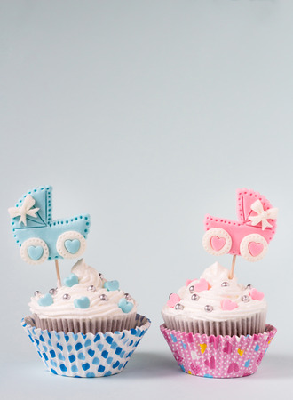 Is it a boy or a girl concept. Newborn cupcake for a boy and a girl. Twins baby shower. Baby announcement. Retro style.