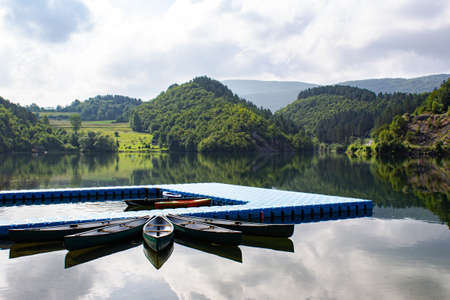 Radoinja Lake, part of the Special Nature Reserve Uvac in southwestern Serbia. Travel destination and recommended place to visit in Serbia. Stock Photo