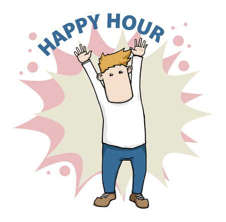 Happy cartoon man, happy hour label Vector