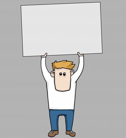 Funny cartoon man holding up a blank sign Illustration
