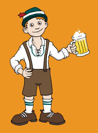leather pants: Traditionally dressed Man with mug of beer on a Oktoberfest festival