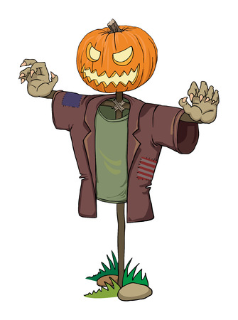 Pumpkin scarecrow with scary zombie hands Vector