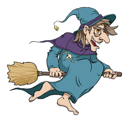 wart: cartoon wicked witch flying on a broomstick