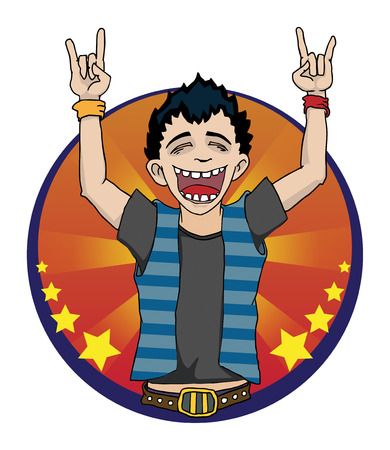 Rock sign with a boy doing devil horns and screaming Vector