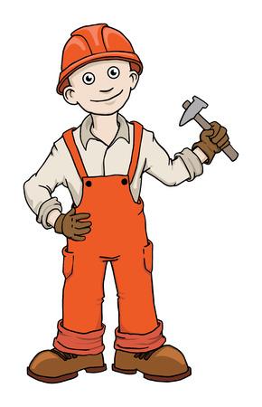 worker cartoon: Lindo trabajador del reparador de construcción de dibujos animados