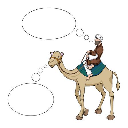 Cartoon Arab Man Riding A Camel Both With Speech Bubbles Illustration