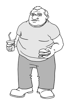 Fat man with burger and drink Vector