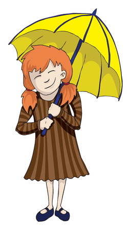 yellow umbrella: Cartoon girl with yellow umbrella Illustration