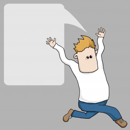 zapatos caricatura: Hombre corriente divertido de la historieta con la burbuja del discurso Vectores