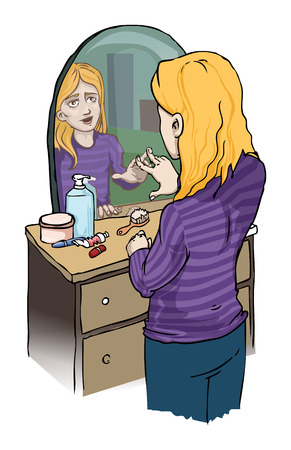 pimples: gilr looking at a mirror Illustration