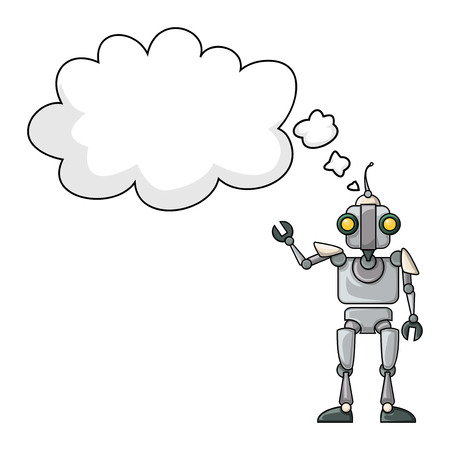 talking robot: Cute robot talking Illustration