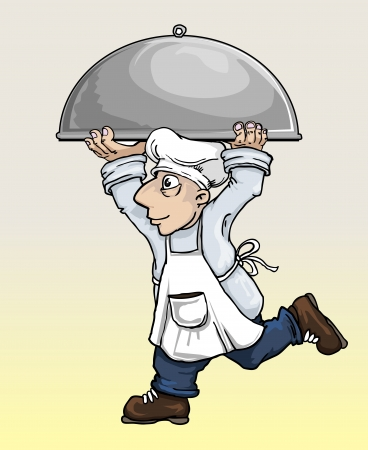 Chef running and carrying a huge plate Vector