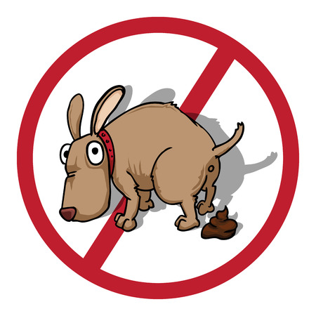 poo: restriction sign, no, with dog pooping