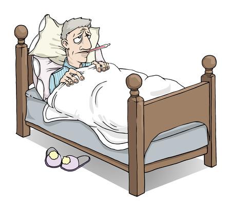 infektion: Kranker Mann mit Fieber im Bett Illustration