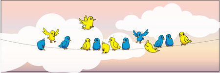 different colorful birds on wire, with sky background Vector