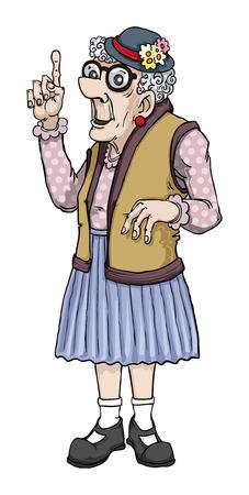 Oude cartoon dame die een punt Stock Illustratie