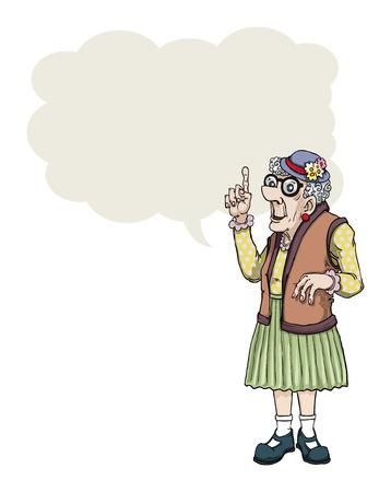 Cartoon alte Dame, die einen Punkt mit Sprechblase